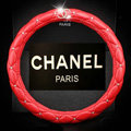 Classic Chanel Diamond PU Leather Auto Car Steering Wheel Covers 15 inch 38CM - Red