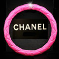 Classic Chanel Diamond PU Leather Auto Car Steering Wheel Covers 15 inch 38CM - Rose