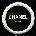 Classic Chanel Diamond PU Leather Auto Car Steering Wheel Covers 15 inch 38CM - White