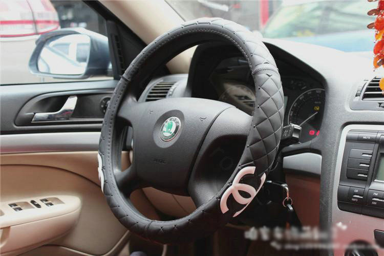 buy wholesale luxury chanel green rubber auto car steering wheel covers 15 inch 38cm black. Black Bedroom Furniture Sets. Home Design Ideas