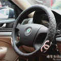 Classic Chanel Green Rubber Auto Car Steering Wheel Covers 15 inch 38CM - Black