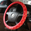 Classic Chanel Green Rubber Auto Car Steering Wheel Covers 15 inch 38CM - Red