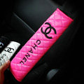 Classic Chanel Leather Automotive Seat Safety Belt Covers Car Decoration 2pcs - Rose