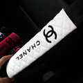 Classic Chanel Leather Automotive Seat Safety Belt Covers Car Decoration 2pcs - White