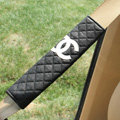 Classic Chanel Sheepskin Automotive Seat Safety Belt Covers Car Decoration 2pcs - Black
