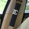 Classic Chanel Sheepskin Automotive Seat Safety Belt Covers Car Decoration 2pcs - Blue