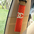 Classic Chanel Sheepskin Automotive Seat Safety Belt Covers Car Decoration 2pcs - Orange