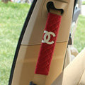 Classic Chanel Sheepskin Automotive Seat Safety Belt Covers Car Decoration 2pcs - Red