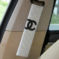 Classic Chanel Sheepskin Automotive Seat Safety Belt Covers Car Decoration 2pcs - White