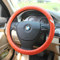 Classic Chanel Sheepskin Leather Auto Car Steering Wheel Covers 15 inch 38CM - Orange