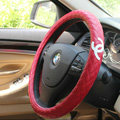 Classic Chanel Sheepskin Leather Auto Car Steering Wheel Covers 15 inch 38CM - Red