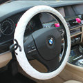 Classic Chanel Sheepskin Leather Auto Car Steering Wheel Covers 15 inch 38CM - White