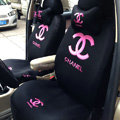 Classic Chanel Universal Automobile Car Seat Cover Sandwich 18pcs Sets - Black