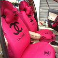 Classic Chanel Universal Automobile Car Seat Cover Sandwich 18pcs Sets - Rose