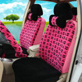 Classic Chanel Universal Automobile Plush Velvet Car Seat Cover 18pcs Sets - Rose+Black