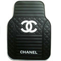 Classic Chanel Universal Automotive Carpet Car Floor Mats Rubber 5pcs Sets - White+Balck