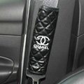 Funky Chanel Leather Automotive Seat Safety Belt Covers Car Decoration 2pcs - Black