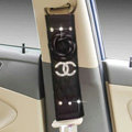 Funky Diamond Chanel Flower Leather Automotive Seat Safety Belt Covers Car Decoration 2pcs - Black