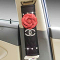 Funky Diamond Chanel Flower Leather Automotive Seat Safety Belt Covers Car Decoration 2pcs - Red