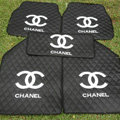 Furry Chanel Universal Automotive Carpet Car Floor Mats Leather 5pcs Sets - Black+White