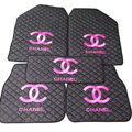 Furry Chanel Universal Automotive Carpet Car Floor Mats Leather 5pcs Sets - Black