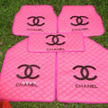 Furry Chanel Universal Automotive Carpet Car Floor Mats Leather 5pcs Sets - Pink
