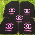 Furry Chanel Universal Automotive Carpet Car Floor Mats Velvet 5pcs Sets - Black+Rose