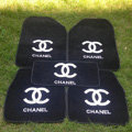 Furry Chanel Universal Automotive Carpet Car Floor Mats Velvet 5pcs Sets - Black