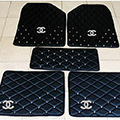 Furry Diamond Chanel Universal Automotive Carpet Car Floor Mats Leather 5pcs Sets - Black