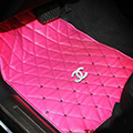 Furry Diamond Chanel Universal Automotive Carpet Car Floor Mats Leather 5pcs Sets - Rose