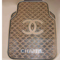 Furry High Quality Chanel Universal Automotive Carpet Car Floor Mats Rubber 5pcs Sets - Brown