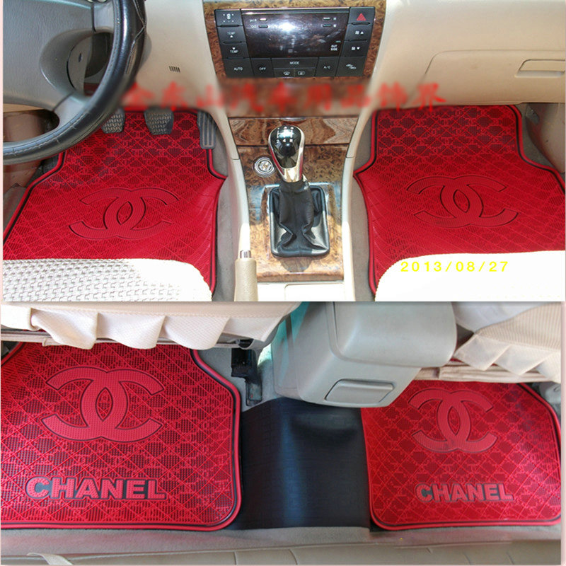 buy wholesale classic chanel universal automotive carpet car floor mats rubber 5pcs sets white. Black Bedroom Furniture Sets. Home Design Ideas