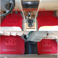 Furry High Quality Chanel Universal Automotive Carpet Car Floor Mats Rubber 5pcs Sets - Red