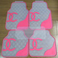 Furry High Quality Chanel Universal Automotive Carpet Car Floor Mats Rubber 5pcs Sets - Rose