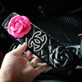 Luxury Chanel Leather Automotive Flower Seat Safety Belt Covers Car Decoration 2pcs - Black+Rose