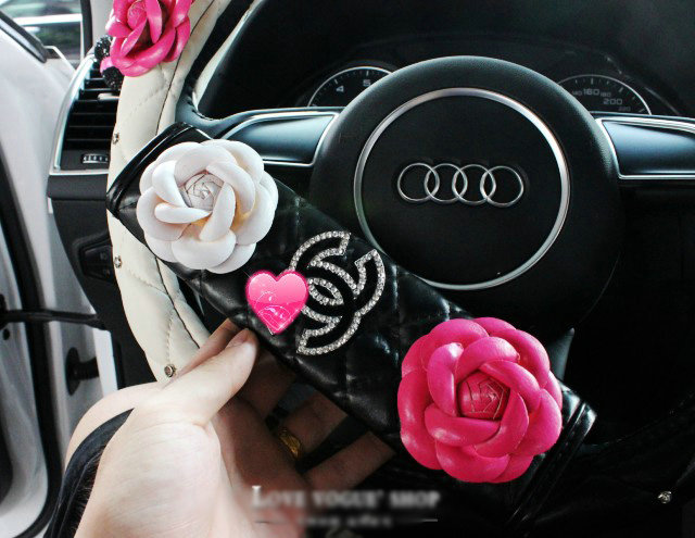 Buy Wholesale Luxury Chanel Leather Automotive Flower Seat Safety Belt Covers Car Decoration 2pcs Black Purple From Chinese Wholesaler I Bay Cn