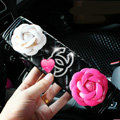 Luxury Chanel Leather Automotive Flower Seat Safety Belt Covers Car Decoration 2pcs - White+Rose