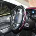 Luxury Chanel PU Leather Auto Car Steering Wheel Covers 15 inch 38CM - Rose+Black