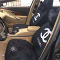 Luxury Chanel Universal Automobile Flower Plush Velvet Car Seat Cover 18pcs Sets - Black
