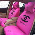 Luxury Chanel Universal Automobile Flower Plush Velvet Car Seat Cover 18pcs Sets - Rose