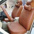 Luxury Chanel Universal Automobile Leather Car Seat Cover 18pcs Sets - Coffee