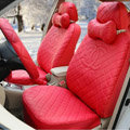 Luxury Chanel Universal Automobile Leather Car Seat Cover 18pcs Sets - Red