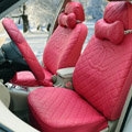 Luxury Chanel Universal Automobile Leather Car Seat Cover 18pcs Sets - Rose