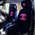Luxury Chanel Universal Automobile Plush Velvet Car Seat Cover 9pcs Sets - Black+Rose