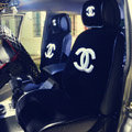 Luxury Chanel Universal Automobile Plush Velvet Car Seat Cover 9pcs Sets - Black+White