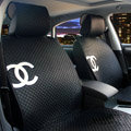 Luxury Chanel Universal Automobile Sheepskin Car Seat Cover Cushion 10pcs Sets - Black