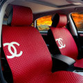 Luxury Chanel Universal Automobile Sheepskin Car Seat Cover Cushion 10pcs Sets - Red