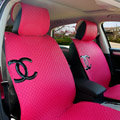Luxury Chanel Universal Automobile Sheepskin Car Seat Cover Cushion 10pcs Sets - Rose