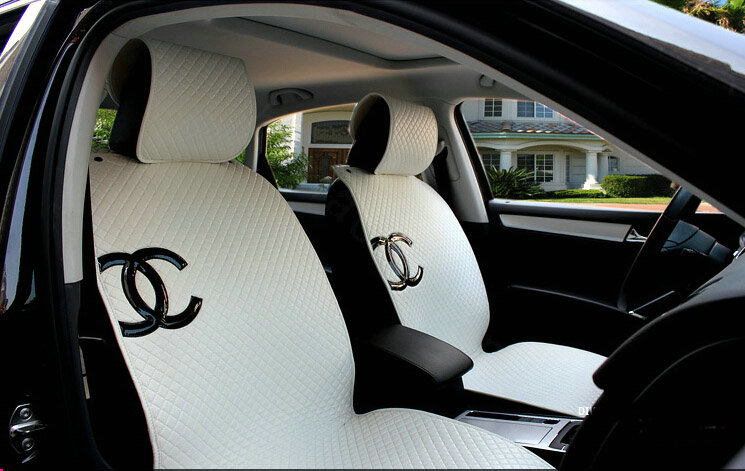 buy wholesale luxury chanel universal automobile sheepskin car seat cover cushion 10pcs sets. Black Bedroom Furniture Sets. Home Design Ideas