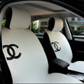 Luxury Chanel Universal Automobile Sheepskin Car Seat Cover Cushion 10pcs Sets - White